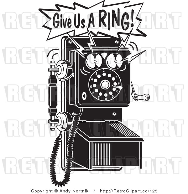 Royalty Free Retro Vector Clip Art of a Give Us a Ring Telephone