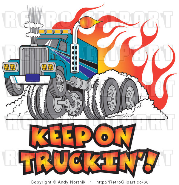 Royalty Free Retro Vector Clip Art of a Keep on Truckin Big Rig