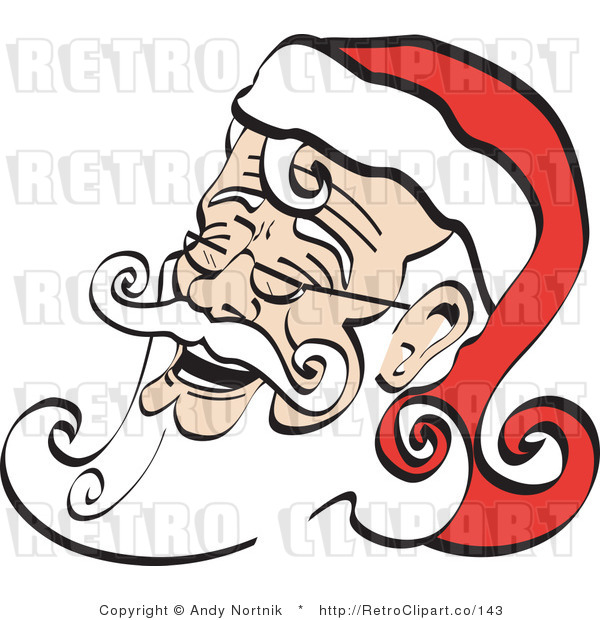 Royalty Free Retro Vector Clip Art of a Laughing Santa