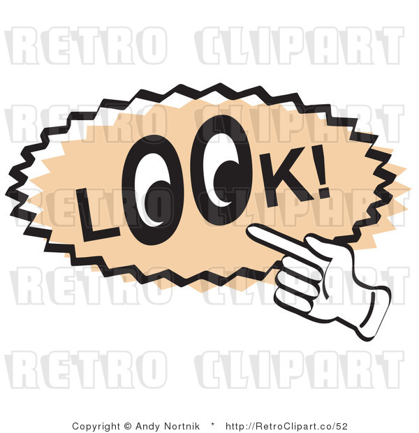 Royalty Free Retro Vector Clip Art of a Look Sign