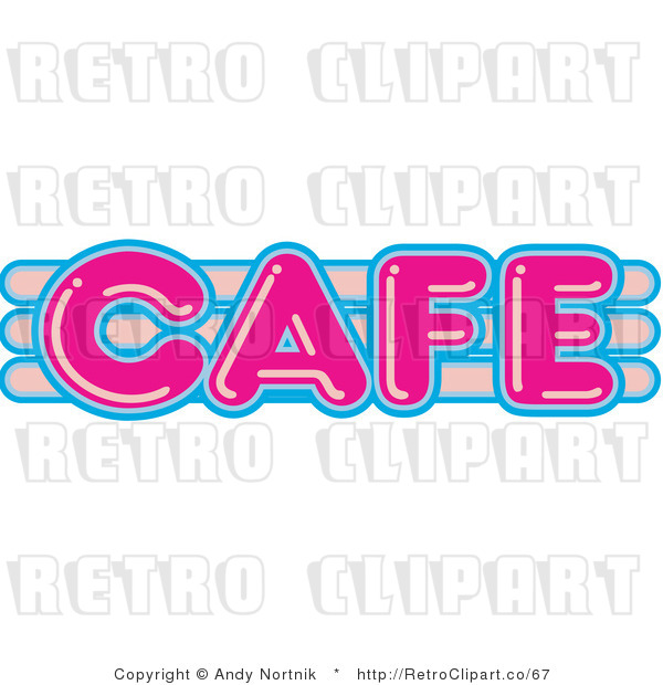 Royalty Free Retro Vector Clip Art of a Neon Cafe Sign