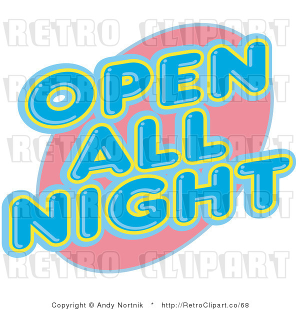 Royalty Free Retro Vector Clip Art of a Neon Open All Night Sign