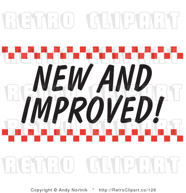 Royalty Free Retro Vector Clip Art of a New and Improved Sign with Checkers