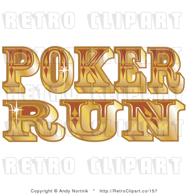 Royalty Free Retro Vector Clip Art of a Poker Run Sign