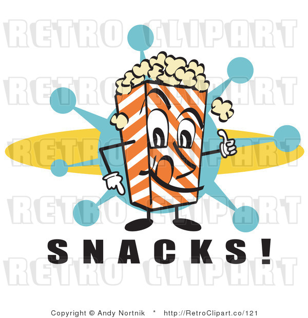 Royalty Free Retro Vector Clip Art of a Popcorn Carton Character with Snacks Text