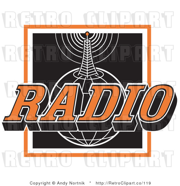 Royalty Free Retro Vector Clip Art of a Radio Communications Tower and Globe