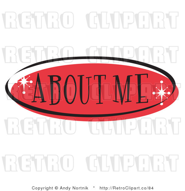 Royalty Free Retro Vector Clip Art of a Red About Me Website Button