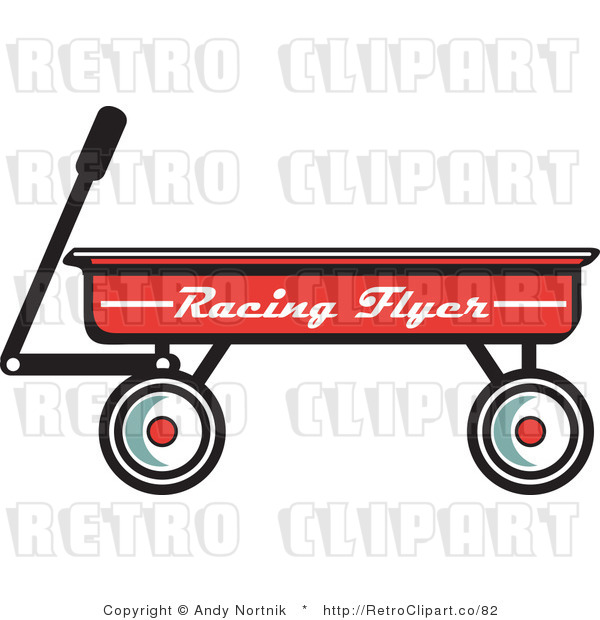 Royalty Free Retro Vector Clip Art of a Red Wagon