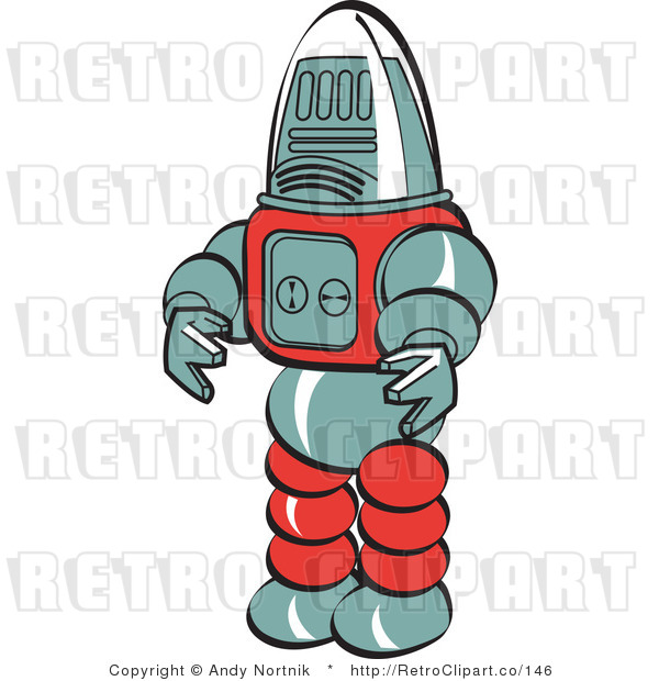Royalty Free Retro Vector Clip Art of a Robot