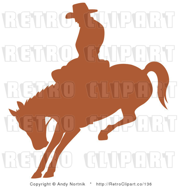 Royalty Free Retro Vector Clip Art of a Silhouetted Rodeo Cowboy