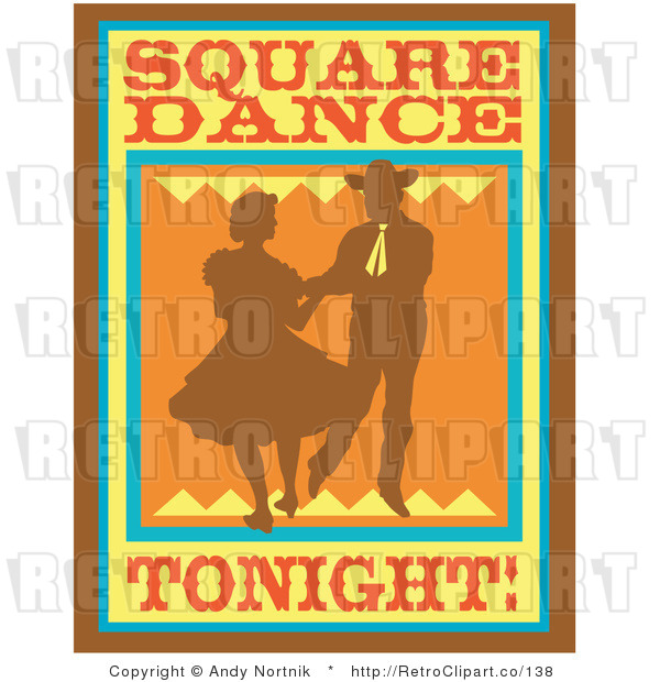 : Royalty Free Retro Vector Clip Art of a Square Dancing Tonight Sign