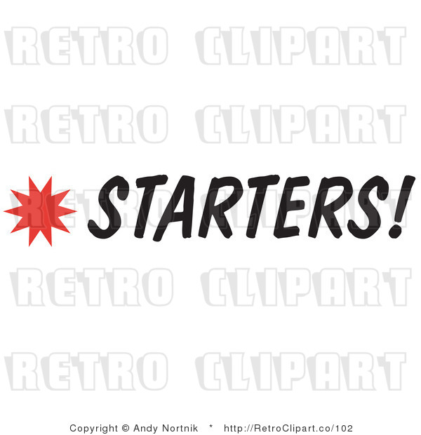 Royalty Free Retro Vector Clip Art of a Starters Sign