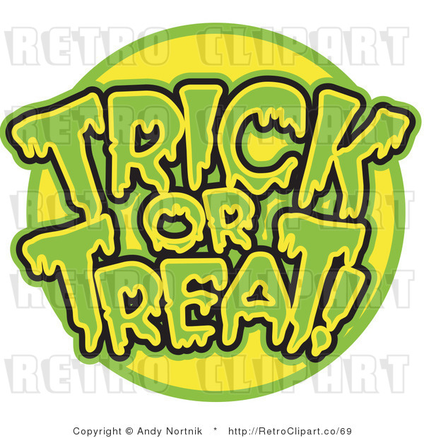 Royalty Free Retro Vector Clip Art of a Trick or Treat Greeting
