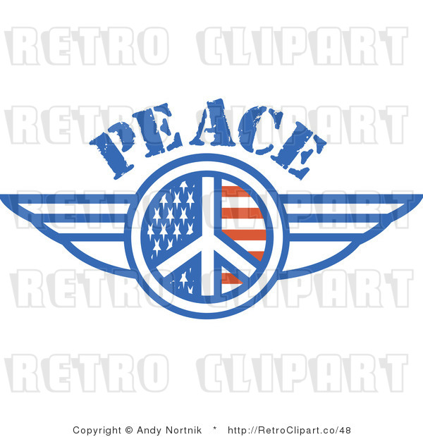 Royalty Free Retro Vector Clip Art of a Winged Peace Symbol