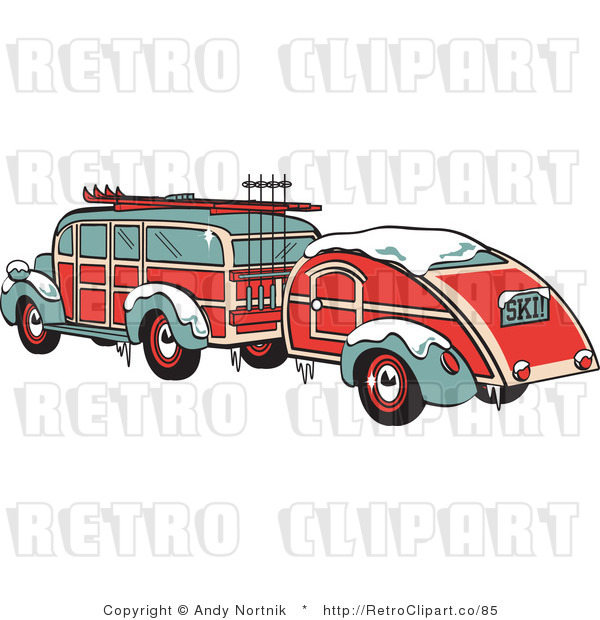Royalty Free Retro Vector Clip Art of a Woodie Car and Trailer