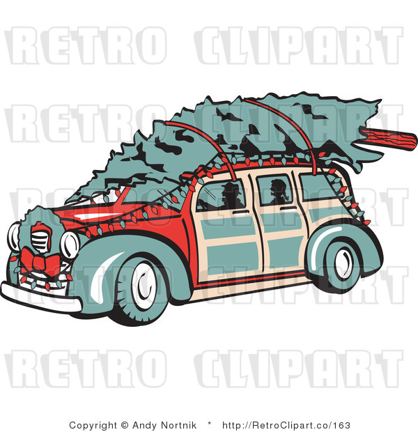Royalty Free Retro Vector Clip Art of a Woody and Christmas Tree