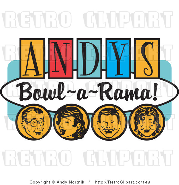 Royalty Free Retro Vector Clip Art of an Andy's Bowl-a-Rama Sign
