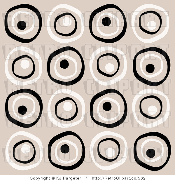 Royalty Free Retro White and Black Circles on a Beige Background