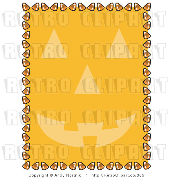 Royalty Free Vector Clip Art of a Candy Corn Retro Border with Orange