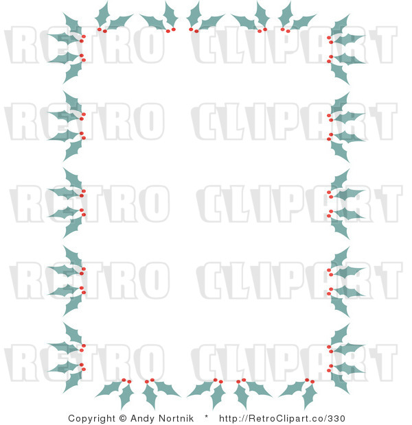Royalty Free Vector Clip Art of a Stationery Background Border with Retro Green Holly and Red Berries