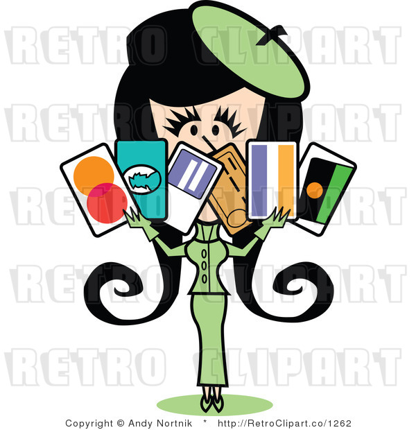 Royalty Free Vector Clip Art of a Wealthy Retro Girl Displaying Six Credit Cards