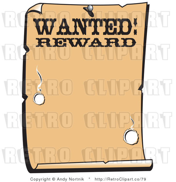 Royalty Free Vector Clip Art of an Old Looking Western Paper with the Word Wanted Rewards with Bullet Holes and Blank Copyspace