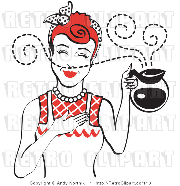 Royalty Free Vector Retro Clip Art of a 1950's Housewife Holding a Freshly Brewed Hot Pot of Coffee with Aroma Scents Swirling Around Her