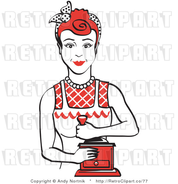 Royalty Free Vector Retro Clip Art of a 1950's Housewife or Maid Woman Using a Manual Coffee Grinder