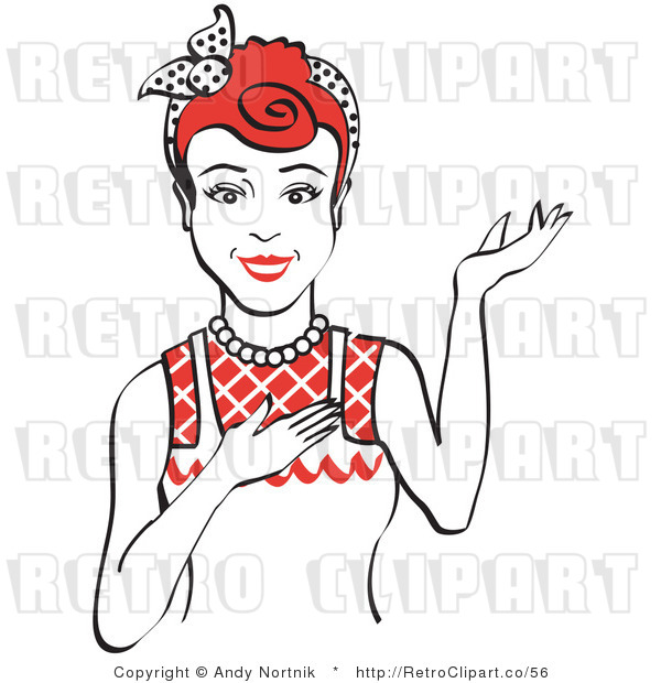 Royalty Free Vector Retro Clip Art of a 1950's Housewife, Waitress or Maid Standing with Presentation Stance