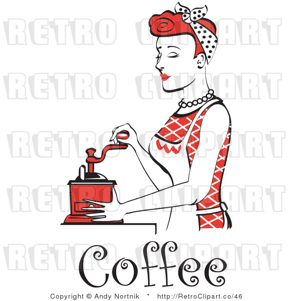 Royalty Free Vector Retro Clip Art of a Red Haired 1950's Housewife or Maid Grinding Coffee Beans with a Manual Grinder
