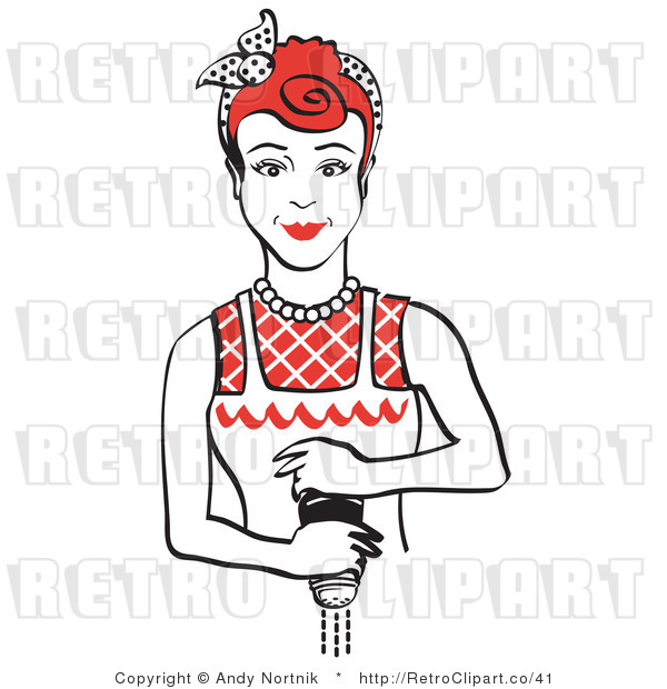 Royalty Free Vector Retro Clipart of a Housewife Grinding Fresh Pepper over Food