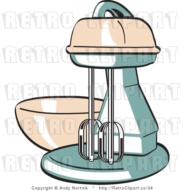 Royalty Free Vector Retro Clipart of an Old Electric Kitchen Mixer with Bowl