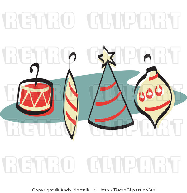 Royalty Free Vector Retro Clipart of Four Christmas Tree Ornaments with Hooks