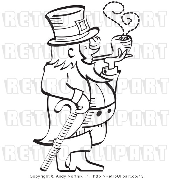 Royalty Free Vector Retro Illustration of a Black and White Line Art Leprechaun Leaning on a Cane While Smoking a Pipe