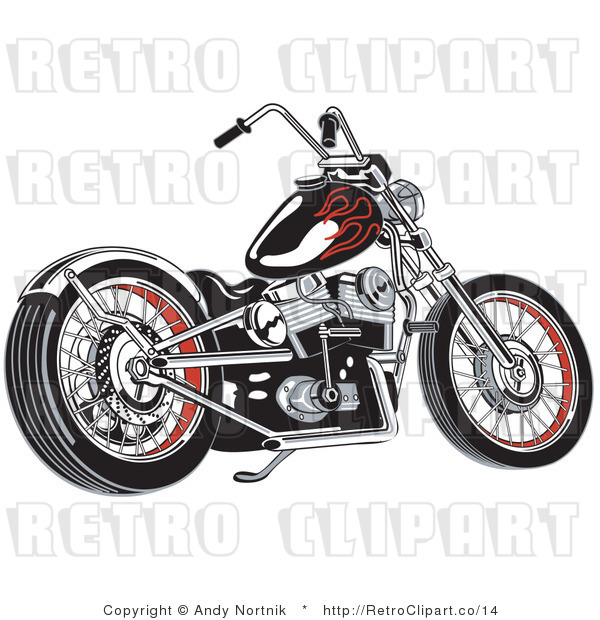 Royalty Free Vector Retro Illustration of a Black Motorcycle with Red Decal Flames on the Gas Tank