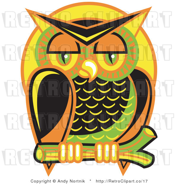 Royalty Free Vector Retro Illustration of a Colorful Owl Perched on a Branch at Night with a Full Moon Background