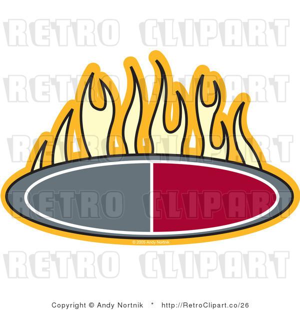 Royalty Free Vector Retro Illustration of a Flames Burning Above an Oval Red and Grey Icon