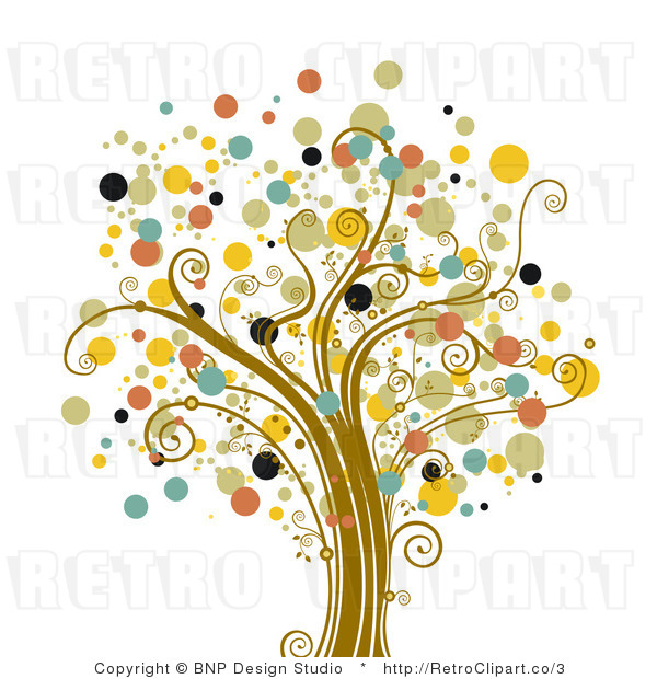 Royalty Free Vector Retro Illustration of a Full Grown Colorful Tree with Circular Foliage