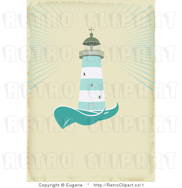 Royalty Free Vector Retro Illustration of a Green and White Lighthouse Beaconing Rays of Light over the Sea