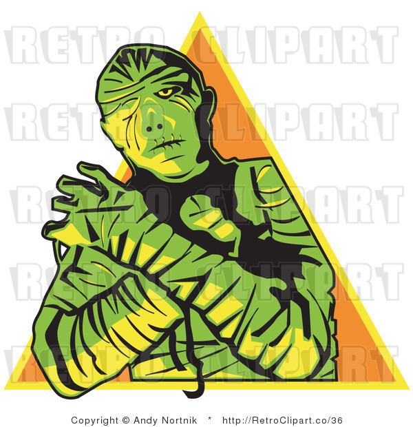 Royalty Free Vector Retro Illustration of a Green Mummy with Arms Crossed and Pyramid Background