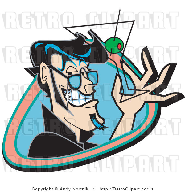 Royalty Free Vector Retro Illustration of a Grinning Man Holding an Empty Martini Glass with a Green Olive and Toothpick