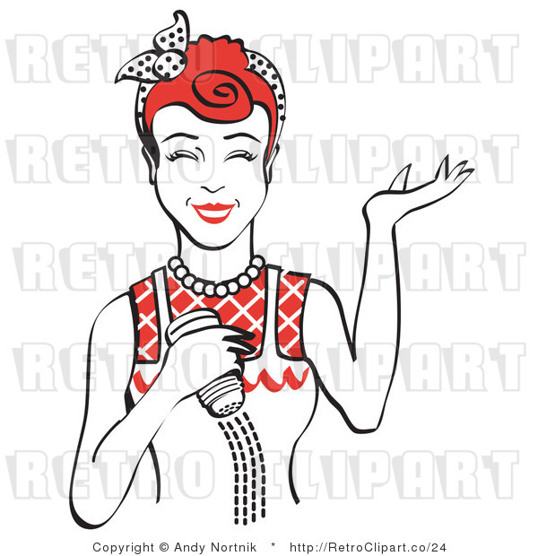 Royalty Free Vector Retro Illustration of a Happy Red Haired Female Chef Using a Salt Shaker While Cooking