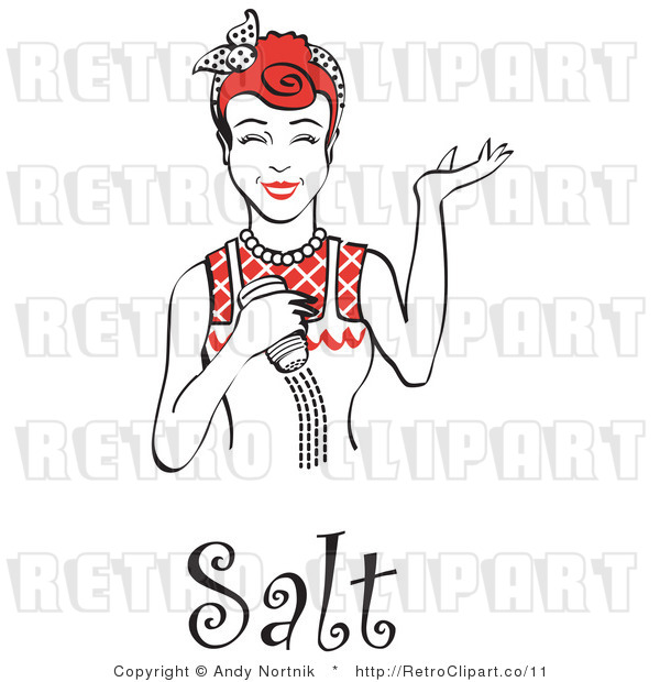Royalty Free Vector Retro Illustration of a Happy Red Haired Female Chef Using Salt Shaker While Cooking