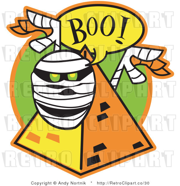 Royalty Free Vector Retro Illustration of a Mummy with Glowing Green Eyes Jumping out of a Pyramid While Screaming Boo!