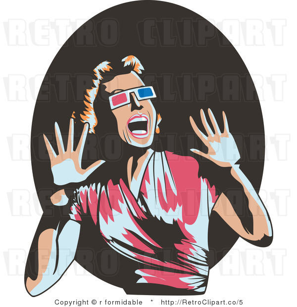 Royalty Free Vector Retro Illustration of a Scared Woman Wearing 3d Glasses, Screaming and Waving Her Hands Around