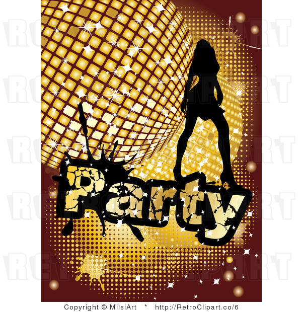 Royalty Free Vector Retro Illustration of a Silhouetted Sexy Girl Dancing over a Golden Disco Party Background
