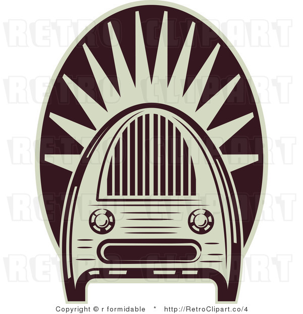 Royalty Free Vector Retro Illustration of an Old Fashioned Maroon and White Colored Vintage Radio