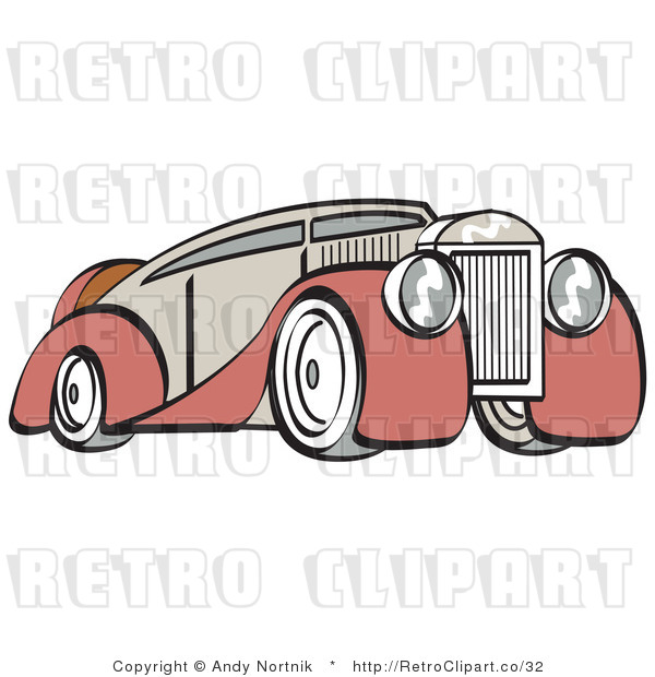 Royalty Free Vector Retro Illustration of an Old Red and Tan Colored Luxury Car