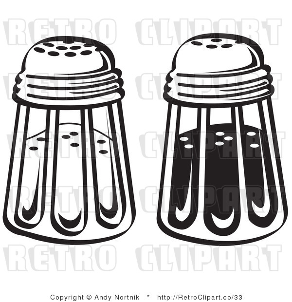 Royalty Free Vector Retro Illustration of Black and White Salt and Pepper Glass Shakers