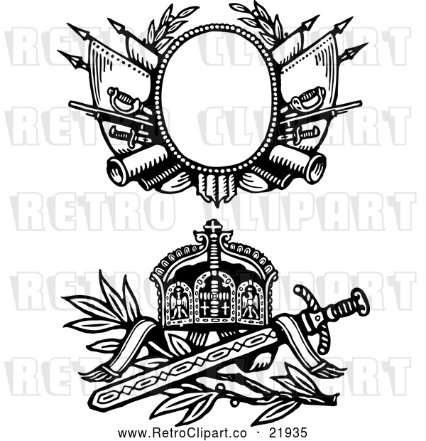 : Vector Clip Art of 2 Retro Medieval Sword and Shields - Digital Collage